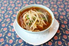 Soup with sprouts and beef Stock Image