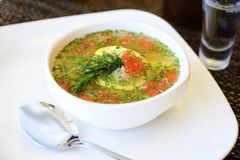 Soup with sturgeon and greens in a plate. Sturgeon soup, red caviar and greens in a plate royalty free stock images