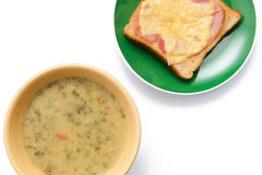 Soup and toast Royalty Free Stock Photography