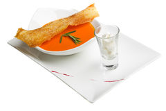 Soup with toast Stock Photography