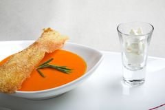Soup with toast Royalty Free Stock Photos