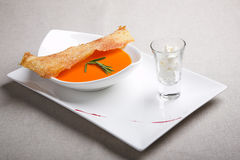 Soup with toast Stock Photo