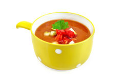 Soup tomato with parsley in yellow bowl Royalty Free Stock Photos