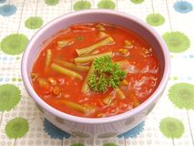 Soup of tomatoes with beans Stock Photography