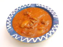 Soup of tomatoes with meat and mushrooms Stock Photos