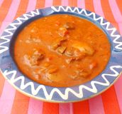 Soup of tomatoes with meat and mushrooms Royalty Free Stock Photography