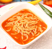 Soup of tomatoes with noodles Royalty Free Stock Image