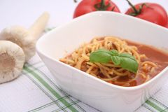 Soup of tomatoes with noodles Stock Photo