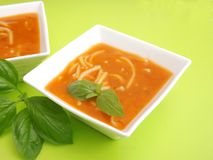Soup of tomatoes with noodles Stock Images