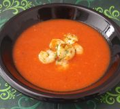 Soup of tomatoes with prawns Royalty Free Stock Photography