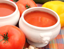 Soup of tomatoes. A soup of tomatoes with rice Stock Images