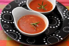 Soup of tomatoes with rice Stock Photos