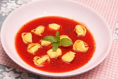 Soup of tomatoes with tortellini Stock Image
