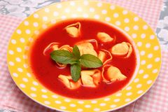 Soup of tomatoes with tortellini Royalty Free Stock Photos