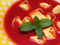 Soup of tomatoes with tortellini Royalty Free Stock Image