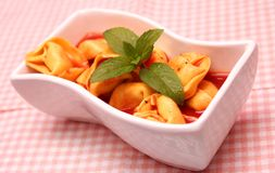 Soup of tomatoes with tortellini Stock Images