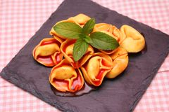 Soup of tomatoes with tortellini Stock Photography