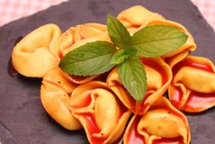 Soup of tomatoes with tortellini Royalty Free Stock Photo