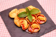 Soup of tomatoes with tortellini Royalty Free Stock Images