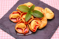 Soup of tomatoes with tortellini Royalty Free Stock Photography