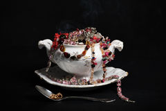 Soup Tureen with Jewelry Stock Images