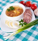Soup and a variety of vegetables Stock Image