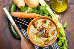 Soup vegetable on bowl and ingredients Royalty Free Stock Photo