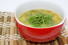 Soup with vegetables. Bamboo background Stock Photography