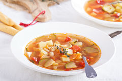 Soup with vegetables and beans Royalty Free Stock Image