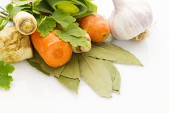 Soup vegetables. Group of variety of fresh soup vegetables on white reflective background Royalty Free Stock Photography