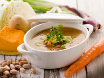 Soup vegetables with ingredients Stock Photo