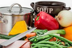 Soup, Vegetables, Pot, Cooking Royalty Free Stock Images