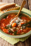 Soup with white beans, spinach, carrots and parmesan close-up on Royalty Free Stock Photos