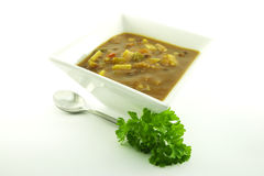 Soup in a White Bowl Stock Photo