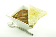 Soup in a White Bowl Stock Image