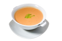 Soup in white bowl Stock Photo