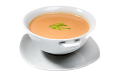 Soup in white bowl Stock Image