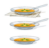 Soup in white plate with spoon. Vector illustration  on background Stock Photo