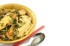 Soup white rice noodle with chopsticks. Soup white rice noodle with fried tofu, bean sprouts, morning glory vegetarian for health Royalty Free Stock Photos