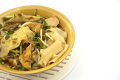 Soup white rice noodle. With fried tofu, bean sprouts, morning glory vegetarian for health Stock Images