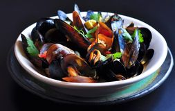 Soup of wild mussels with white wine, vegetables, sage and coriander Stock Photos