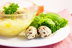 Soup With Meatball Stock Photos