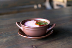 Soup With Sour Cream In A Clay Pot Royalty Free Stock Photos