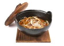 Soup on wood plank Royalty Free Stock Image