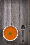 Soup on wood table Royalty Free Stock Photo