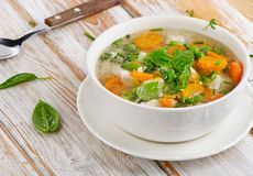 Soup on wooden table Royalty Free Stock Photos