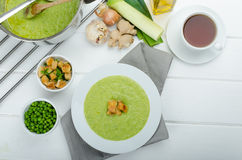 Soup of young peas Royalty Free Stock Photography