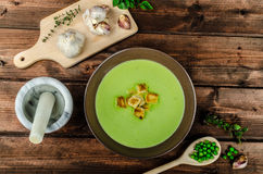 Soup of young peas Stock Photos