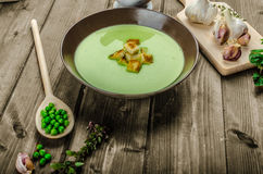 Soup of young peas Stock Photo