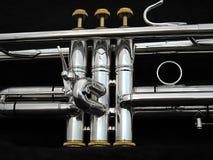 Soupapes argentées de trompette Image stock